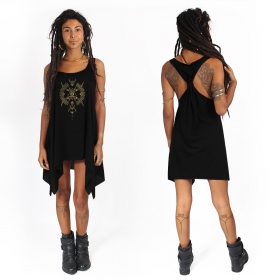 """Ilanga"" knotted tunic, Black and gold"