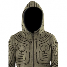 """War Paint"" zip hoodie, Mottled khaki green"