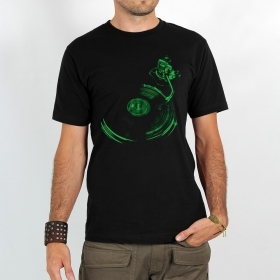 """Play record"" t-shirt, Black and green"
