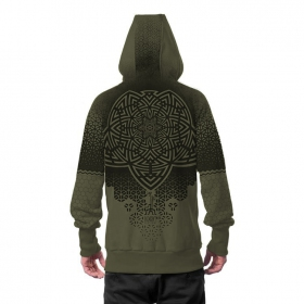 """Mark"" zipped hoodie, Khaki green"