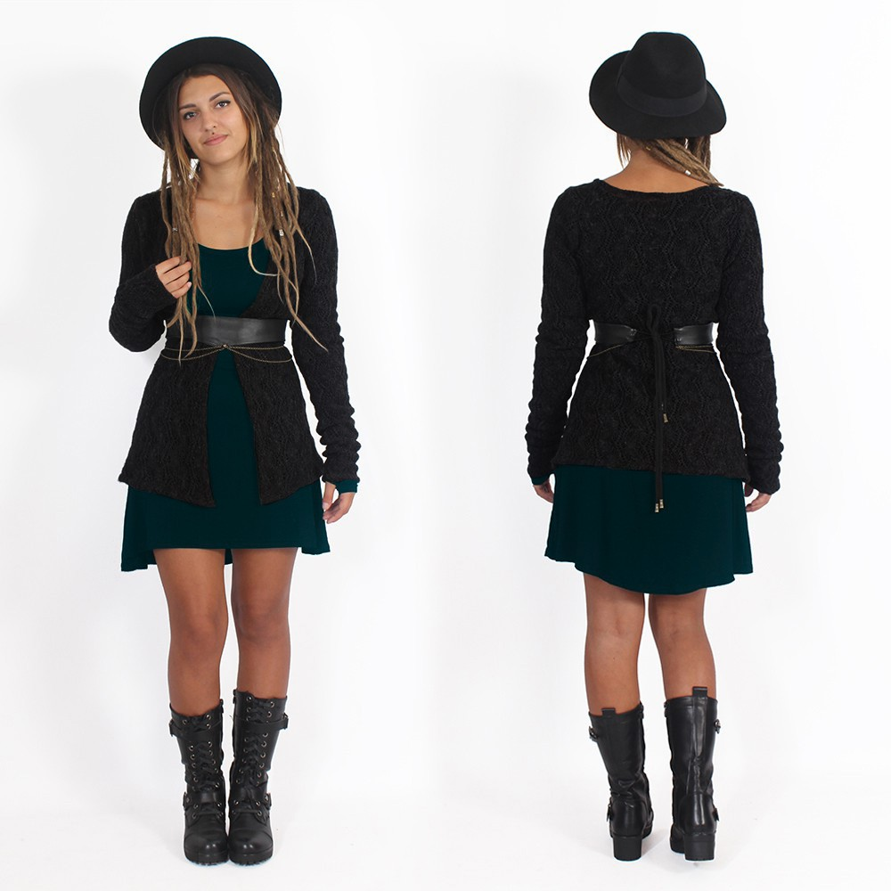 """Idrïss"" crochet cardigan, Black"