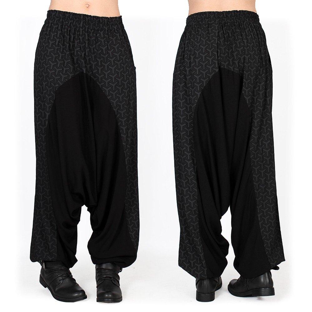 """Ginie Kikko"" light harem pants, Black with grey prints"
