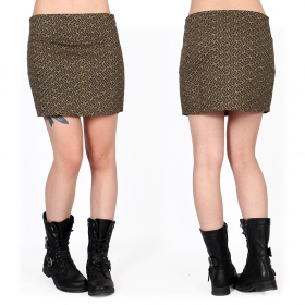 """Ishtar Swastika"" skirt, Khaki green with prints"