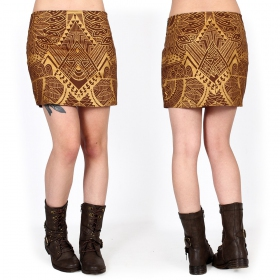 """Ishtar Africa"" skirt, Brown with golden prints"