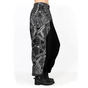 """Ginie Africa"" light harem pants, Black with silver prints"