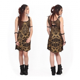 """Electra Africa"" dress, Black with golden prints"