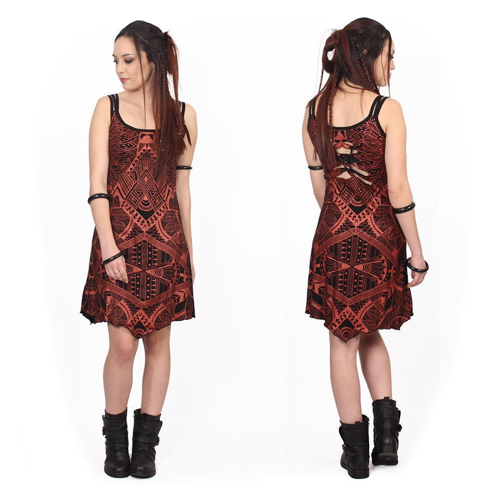 """Electra Africa"" dress, Black with copper prints"