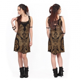 """Electra Paisley"" dress, Black with golden prints"