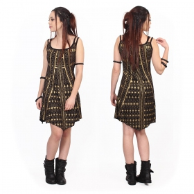"""Electra Kalinga"" dress, Black with golden prints"