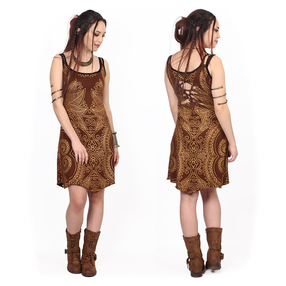 """Electra Paisley"" dress, Brown with golden prints"