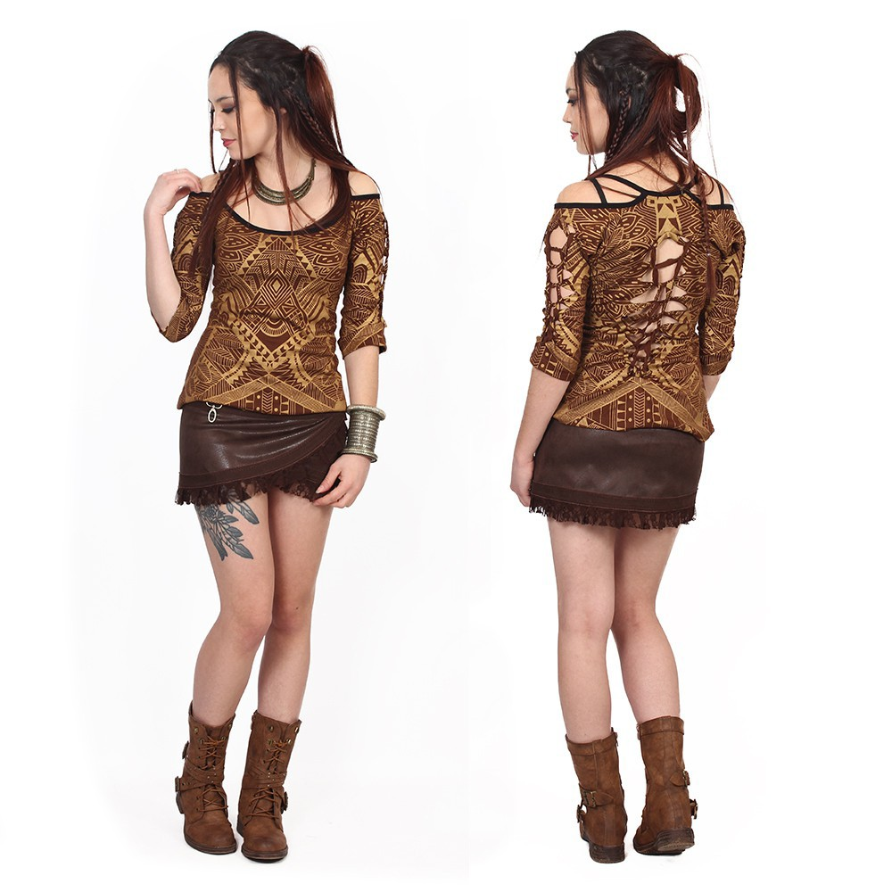 """Sedna Africa"" top, Brown with golden prints"