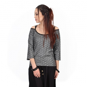 """Sedna Kikko"" top, Black with silver prints"