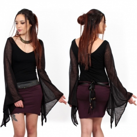 black form-fitting witchy goth top moonspell yggdrazil with transparent wide flared long sleeves, dark clothing