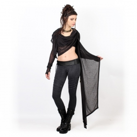 """Aeriz"" semi transparent shawl, Black"