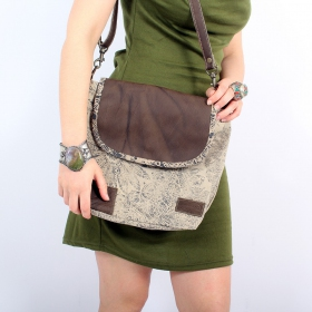 """Jahanara"" bag, Beige with black print"