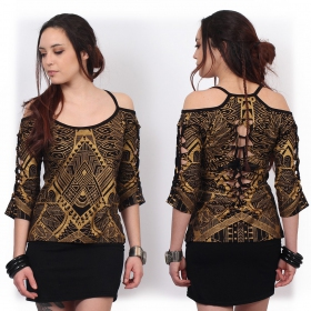 """Sedna Africa"" top, Black with golden prints"