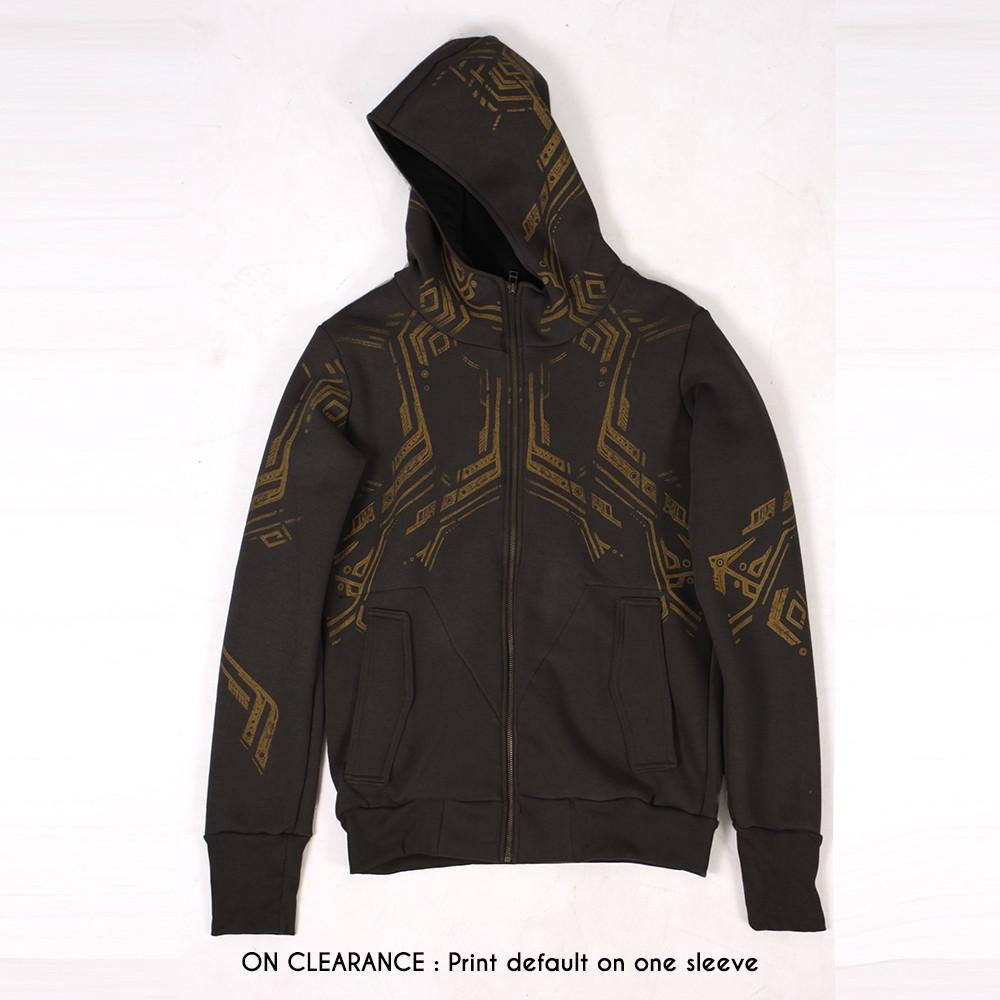 """""""Side Winder"""" zipped hoodie, Dark brown"""