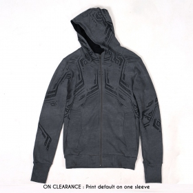 """Side Winder"" zipped hoodie, Washed grey"