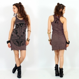 """Tribal tattoo face"" dress, Taupe"
