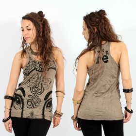 """Ganesh Eye"" tank top, Light brown"