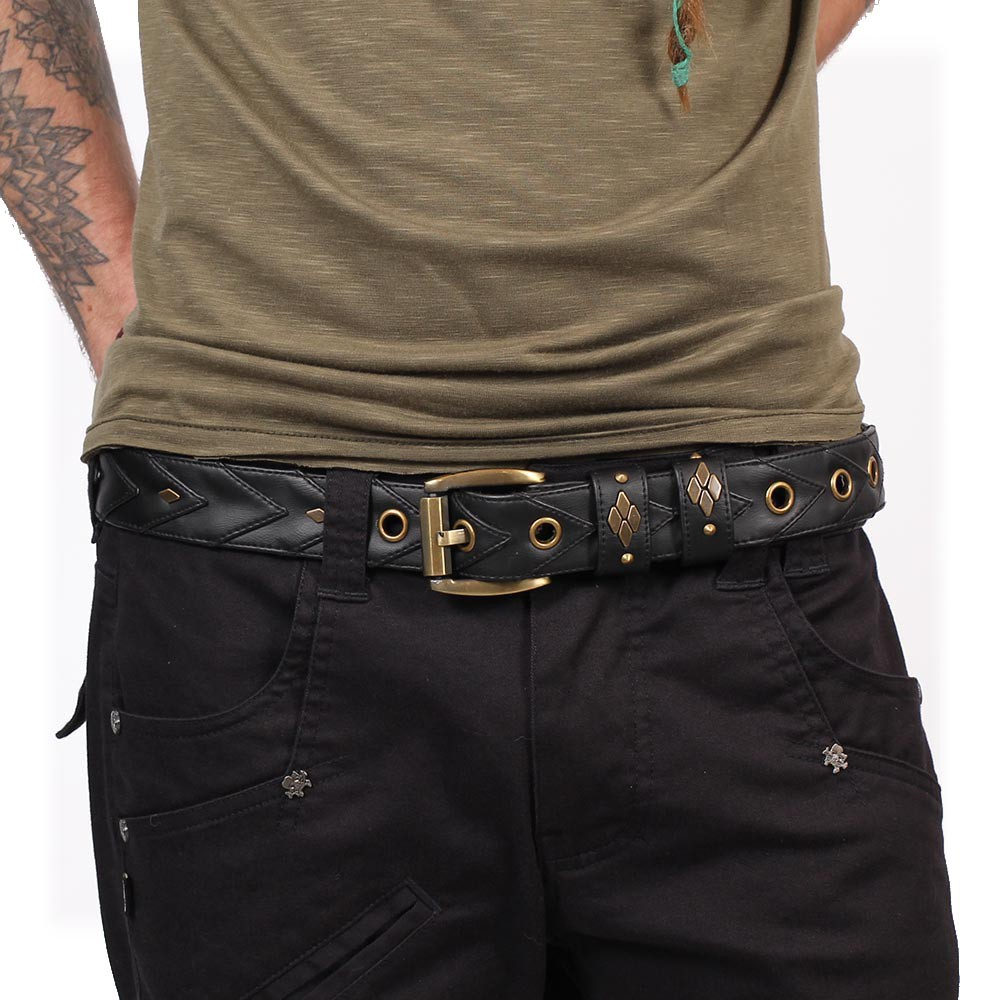 """Void"" belt, Black faux leather"