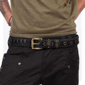 """Equilibrium"" belt, Black faux leather"