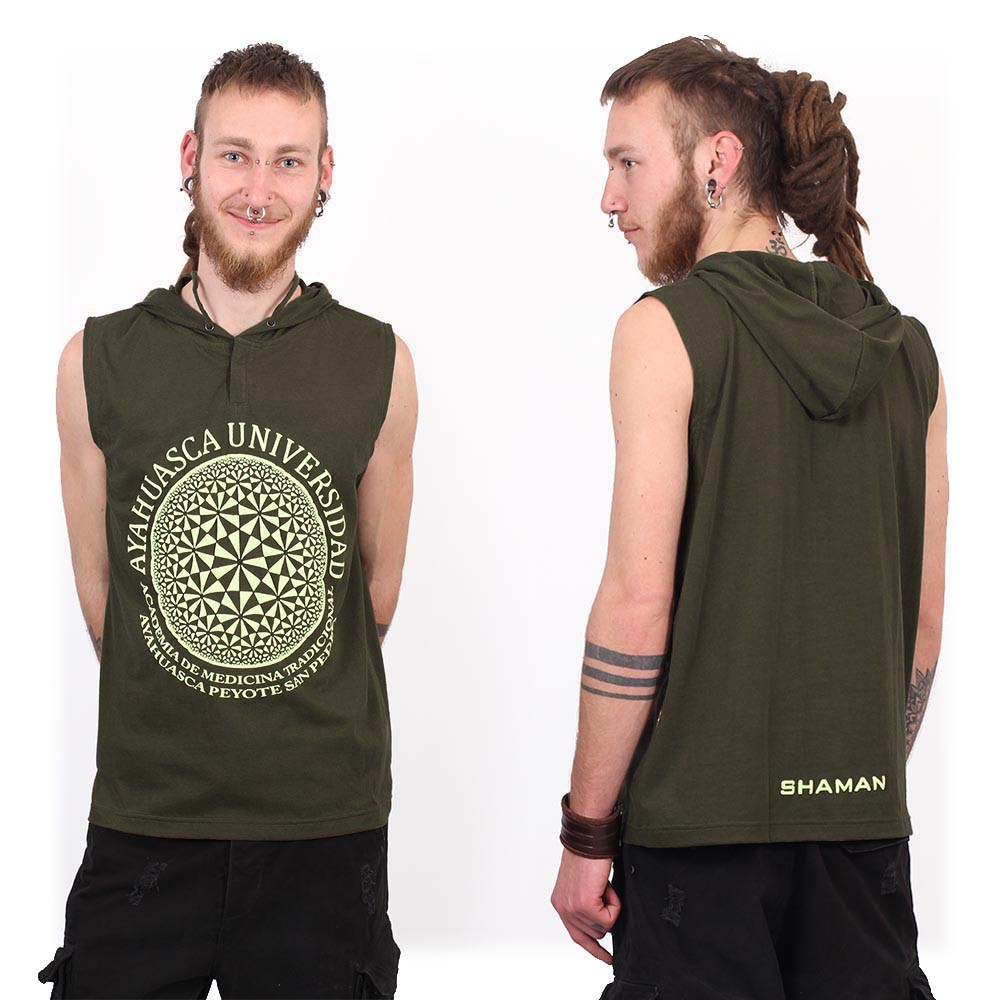 """Ayahuasca"" hooded tank top, Khaki green"