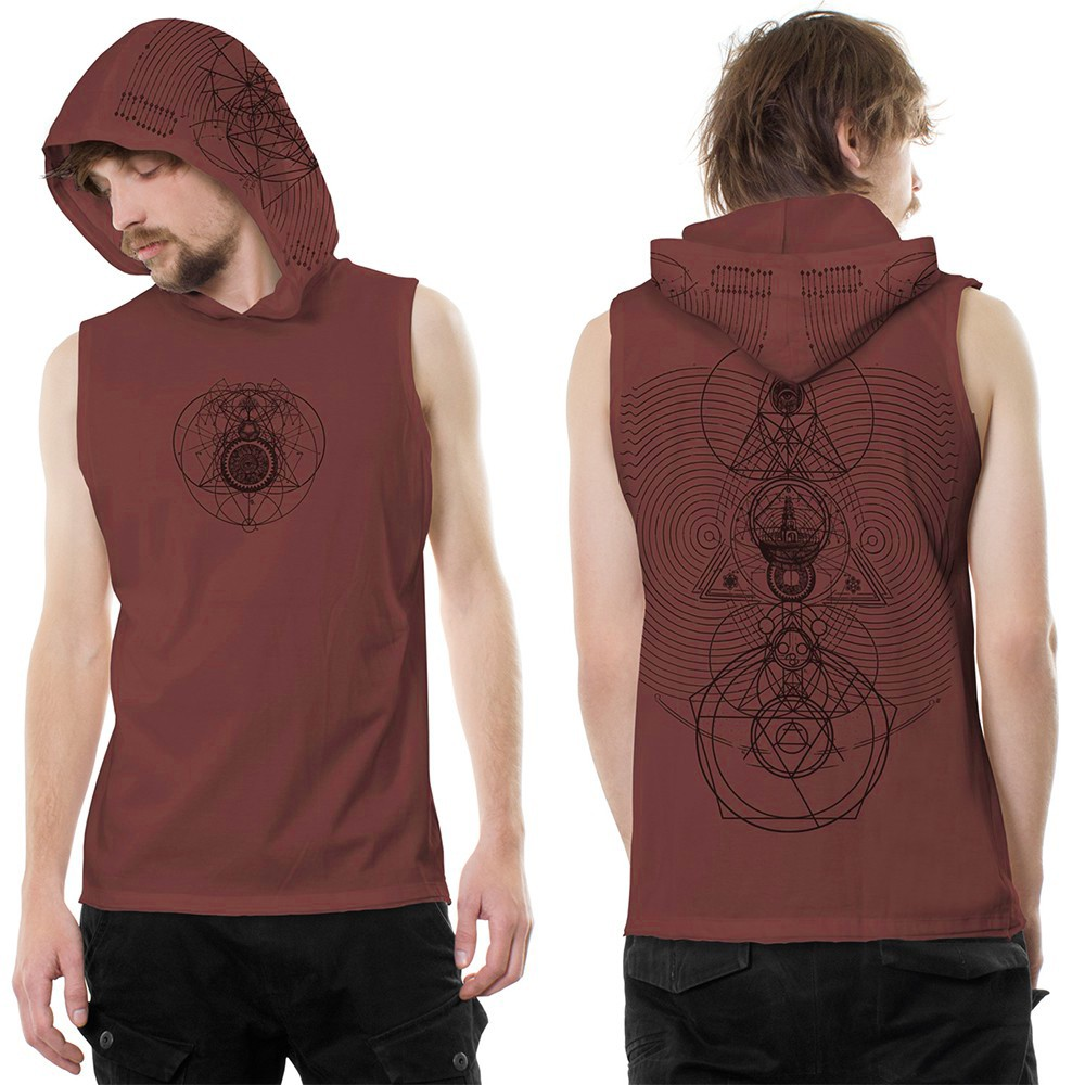 """City Zen"" hooded tank top, Wine"