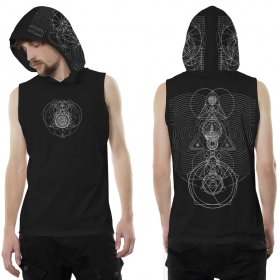 """City Zen"" hooded tank top, Black"