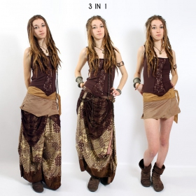 """Utopia"" 3in1 skirt, Multi brown with wine and brown patterns"