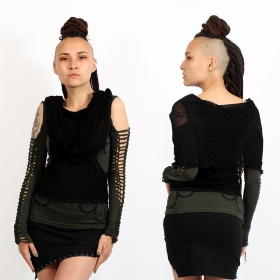 """Long Neck"" top, Dark khaki and Black"