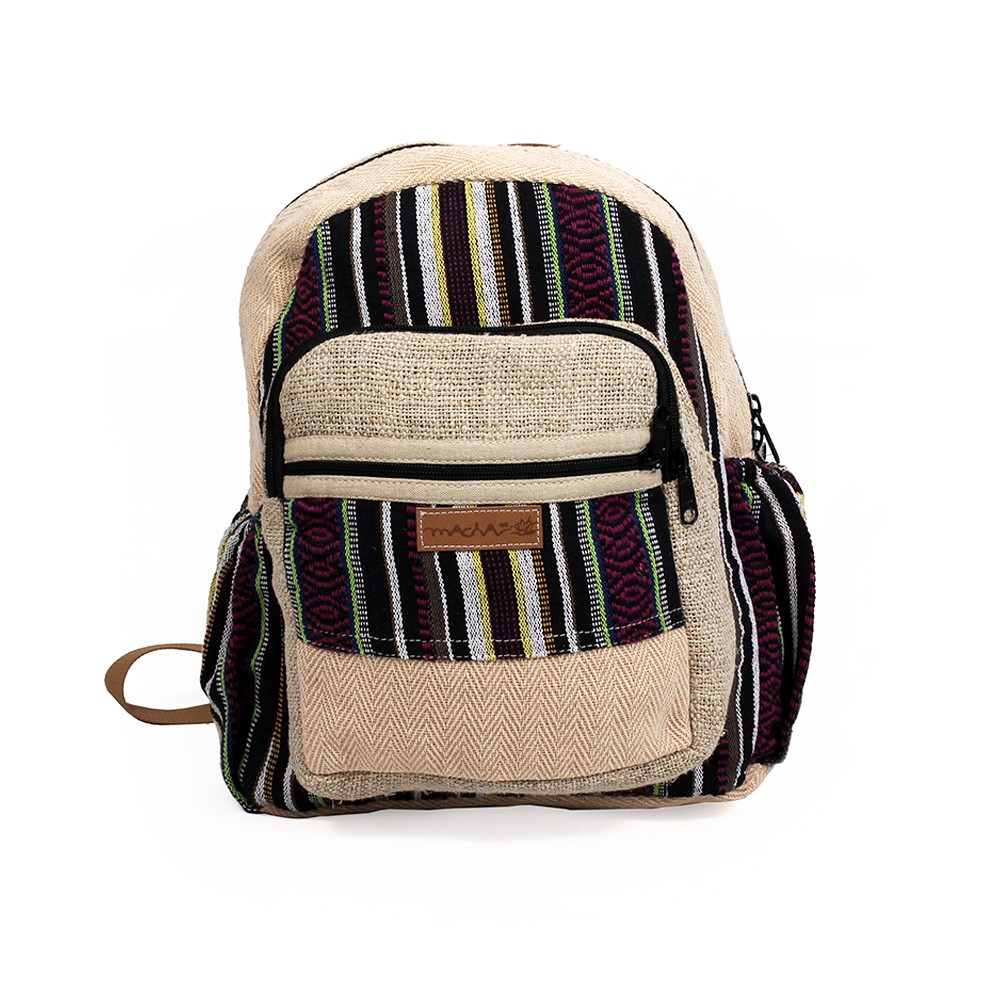 """Onaona"" backpack, Beige jute canvas with colorful patterns"