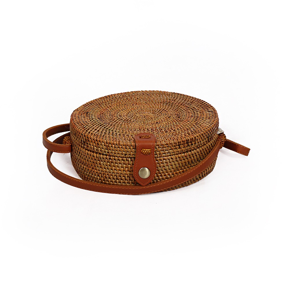 """Akela"" rattan small purse, Brown leather"
