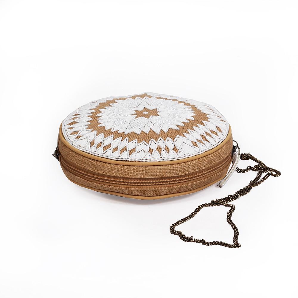 """Haimi"" small purse, Jute canvas and white cotton"