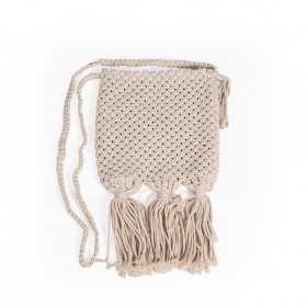 """Ikaika"" small shoulder bag, Off white braided cotton"