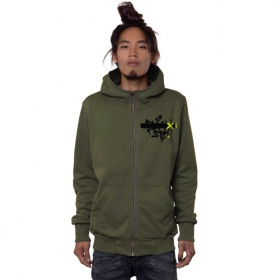 """Switcher"" zipped hoodie, Olive"