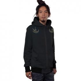"""Tailz"" zipped hoodie, Black"