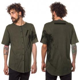"""""""Uneven"""" buttoned t-shirt, Khaki green"""