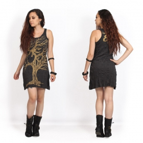 """Ohm tree"" dress, Dark grey and gold"