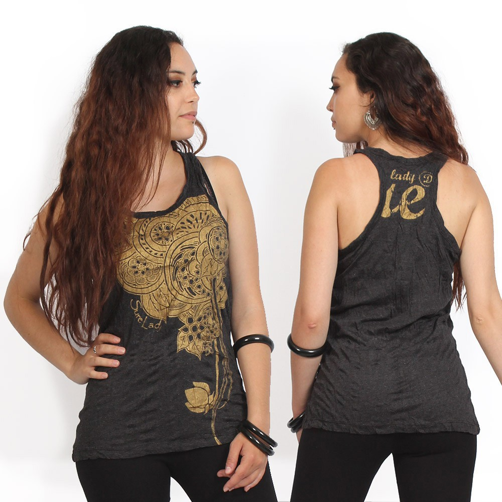 """Flower"" tank top, Black and gold"