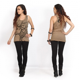 """Ohm tree"" tank top, Light brown"