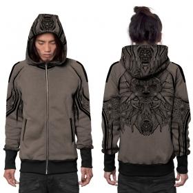 """""""Nightwalker"""" zipped hoodie, Mottled beige"""