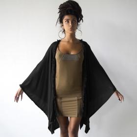 """""""Soma Knit Hem"""" kaftan shawl, Black"""