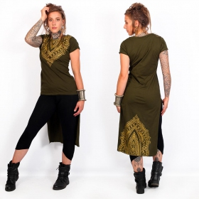 """Kala"" asymmetric top, Khaki green and gold"