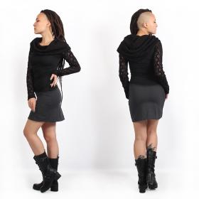 """""""Atmäa"""" crochet long sleeves top, Black"""