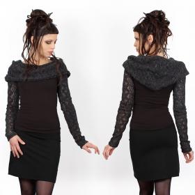 """Atmäa"" crochet long sleeve top, Grey"