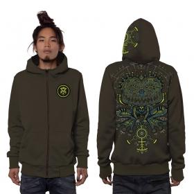 """""""Psychotoad"""" zipped hoodie, Dark Khaki"""