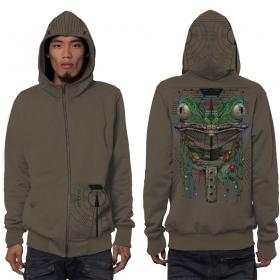 """Kambo"" zipped hoodie, Mottled beige"