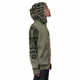 """Rabbit"" zipped hoodie, Mottled khaki green"