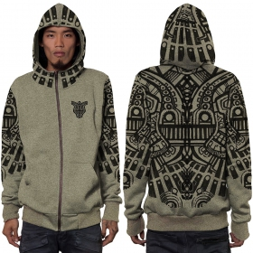 """Rabbit"" zipped hoodie, Mottled khaki green"